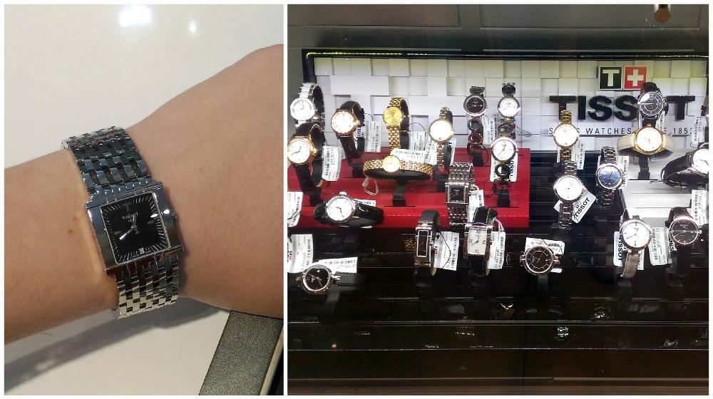 Витрина швейцарцев Tissot иодна изженских моделей марки набраслете склассическим мужским плетением, 21090 рублей