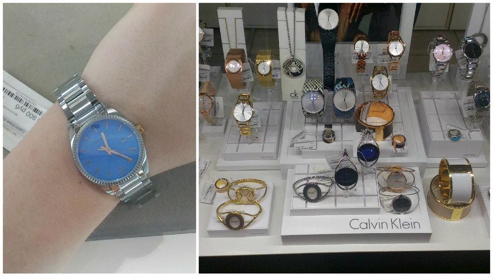 Витрина CKв«Плазе» икрупные белые бойфренд-часы Calvin Klein, 18100 рублей