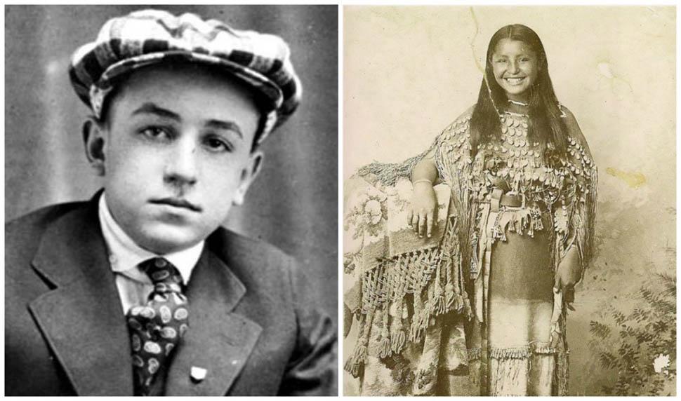 США. Слева — 16-летний Уолт Дисней. Справа — девушка из народа кайова