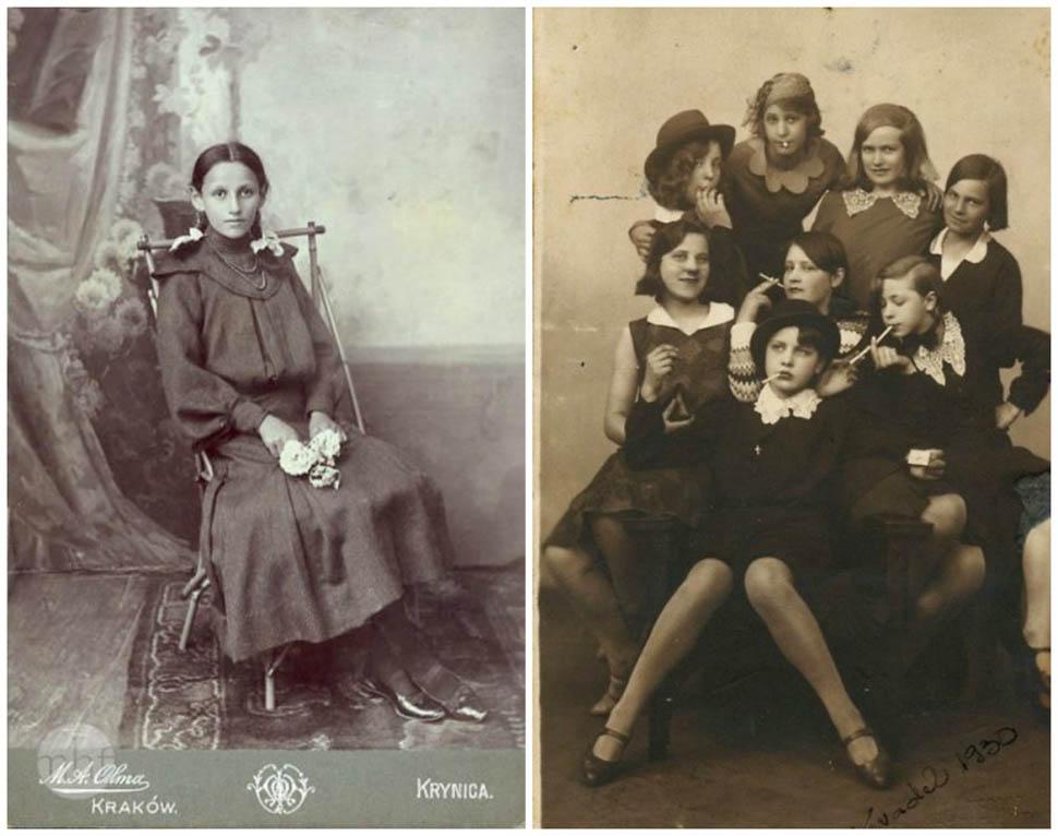 Польша и Эстония. Эстонские девушки изображают сцену из фильма, пытаясь выглядеть как взрослые