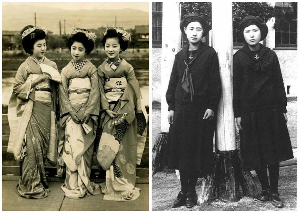 Япония. Слева — девушки майко (ученицы гейш) отдыхают на балконе. Справа — ученицы школы Фукуока, первого места, где ввели школьную форму в морском стиле