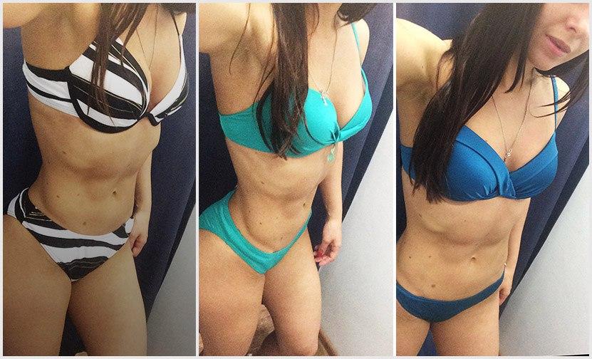 Цены купальников наАнне: вполоску— 3125рублей, цвета морской волны— 4499рублей, голубой— 3368 рублей
